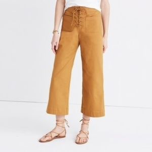 Madewell Lace Up Wide Leg Crop Pants